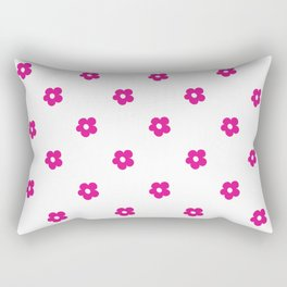 Hot Pink Ditsy Dot Flower Pattern Rectangular Pillow