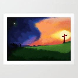 People Going to the Cross Art Print