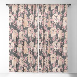 Golden Retrievers and flowers on Black Sheer Curtain
