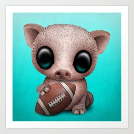 Baby Pig Playing With Football Art Print