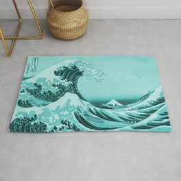 Aqua Blue Japanese Great Wave off Kanagawa by Hokusai Rug