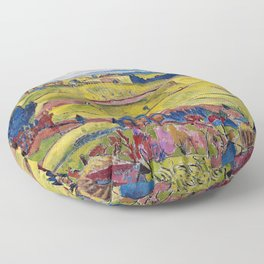 Chamonix Valley and Snow-capped French Alps landscape by Cuno Amiet Floor Pillow