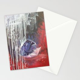 blue french bulldog in a paperboat Stationery Cards