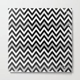 Chevron (Black and White) Metal Print