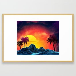 Sunset Vaporwave landscape with rocks and palms Framed Art Print