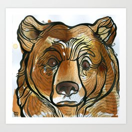 Quizzical Tea Bear Art Print