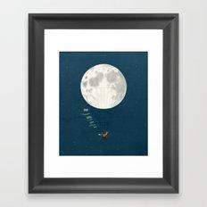 Full moon and foxes Framed Art Print
