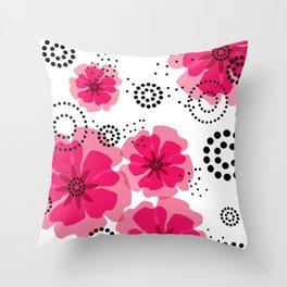 PEPPER POPPIES | fuschia Throw Pillow