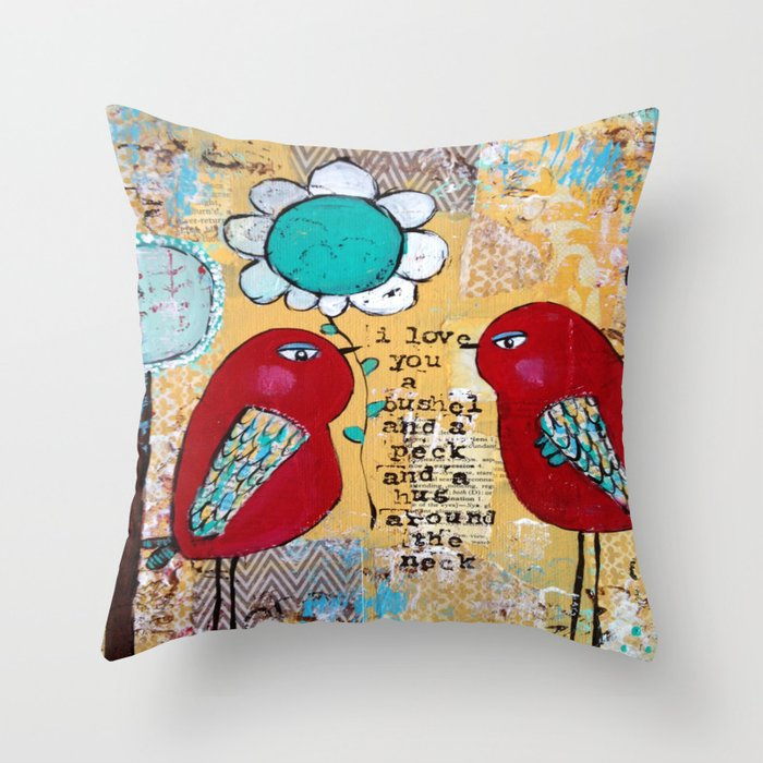I love you a bushel and a peck, whimsical birds with flower Deko-Kissen