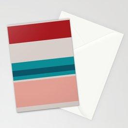 A perfect customization of Blood (Animal), Blush, Silver, Dark Cyan and Philippine Indigo stripes. Stationery Cards