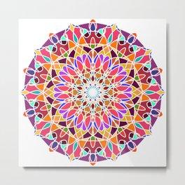 Rainbow sun mandala Metal Print