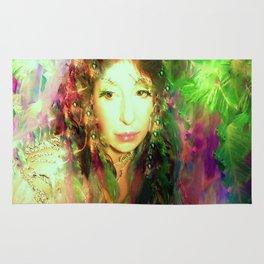 Fairy feather head dress fairy goddess green feathers belly dancer kashmir,art print Rug