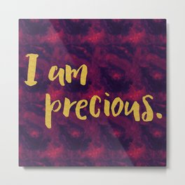 Faux gold glitter inspirational quote on purple watercolor Metal Print