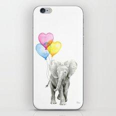 Elephant Watercolor with Balloons Rainbow Hearts Baby Whimsical Animal Nursery Prints iPhone Skin