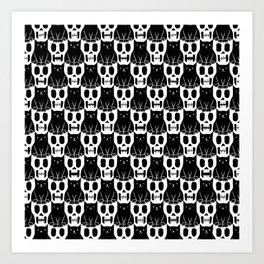 Skulls & Cats Art Print