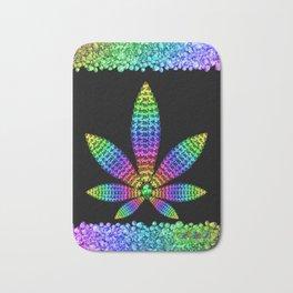 Rainbow Gems Cannabis Leaf Bath Mat