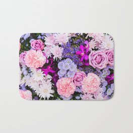 Pink Purple Flowers x Ultraviolet Bath Mat