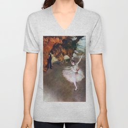 DANCER WITH A BOUQUET OF FLOWERS - EDGAR DEGAS  Unisex V-Neck
