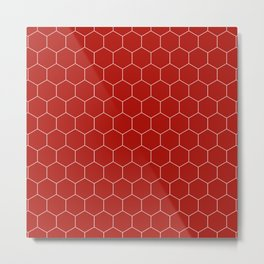 Simple Honeycomb Pattern - Red & White - Mix & Match with Simplicity of Life Metal Print