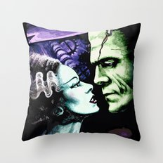 Bride of Frankenstein Monsters in Love Throw Pillow