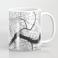 seoul Mugs featuring Seoul Map Gray by City Art Posters