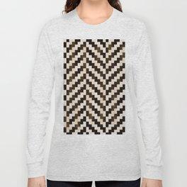 Brown herringbone Long Sleeve T-shirt