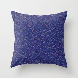 Yer a Wizard - Blue + Bronze Throw Pillow