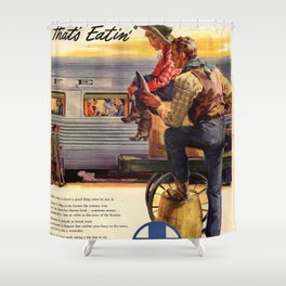 Vintage poster - Gee, that's Eatin' Shower Curtain