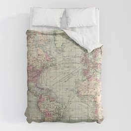 Vintage Map of The World (1874) Comforters