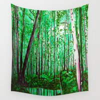 the office Wall Tapestries featuring Green Office by sky愛