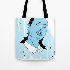Woman in Blue Tote Bag