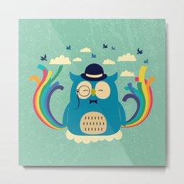 Happy owl with rainbow Metal Print