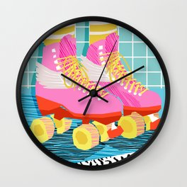 The Right Stuff - retro throwback 80s style rollerskates skating rink trendy 1980's Wall Clock