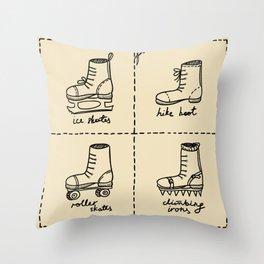 Sport shoes doodles Throw Pillow