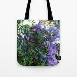 Abstracted Purple Petunias Tote Bag
