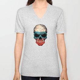 Dark Skull with Flag of Russia Unisex V-Neck