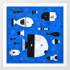BLACK & WHITE FISHES Art Print