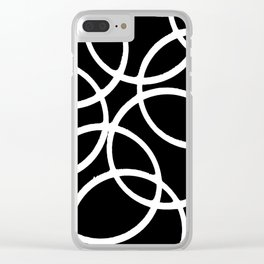 Interlocking White Circles Artistic Design Clear iPhone Case