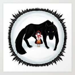Little Red Riding Hood and the Big Bad Wolf Art Print