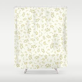 Yellow Branches – Floral Heart Collection Shower Curtain