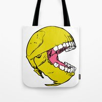 pac man Tote Bags featuring Ancient Pac-man by Sauce Designs