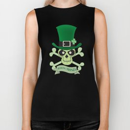 100% Irish.Green lucky irish skull Biker Tank