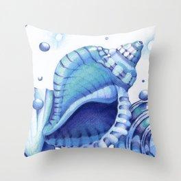 Blue Green Shells Throw Pillow