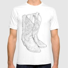Cowboy Boots Mens Fitted Tee SMALL White