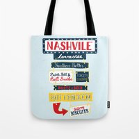 nashville Tote Bags featuring Nashville signs by emma miller