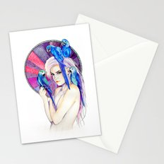Girl with Parrots Stationery Cards