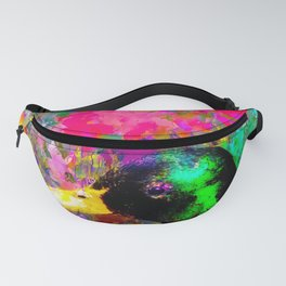 mallard duck with pink green brown purple yellow painting abstract background Fanny Pack