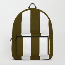 Dark bronze (Coin) green - solid color - white vertical lines pattern Backpack