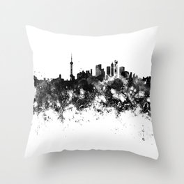 Shanghai skyline in black watercolor Throw Pillow