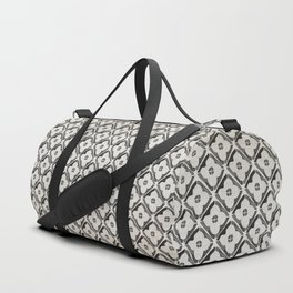 Moroccan Boho Black & White Pattern Duffle Bag